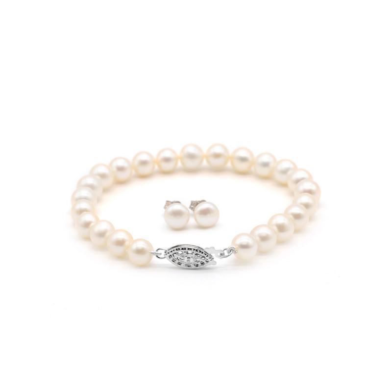 One & Ownly - 淡水珍珠純銀手鏈及耳環禮物套裝