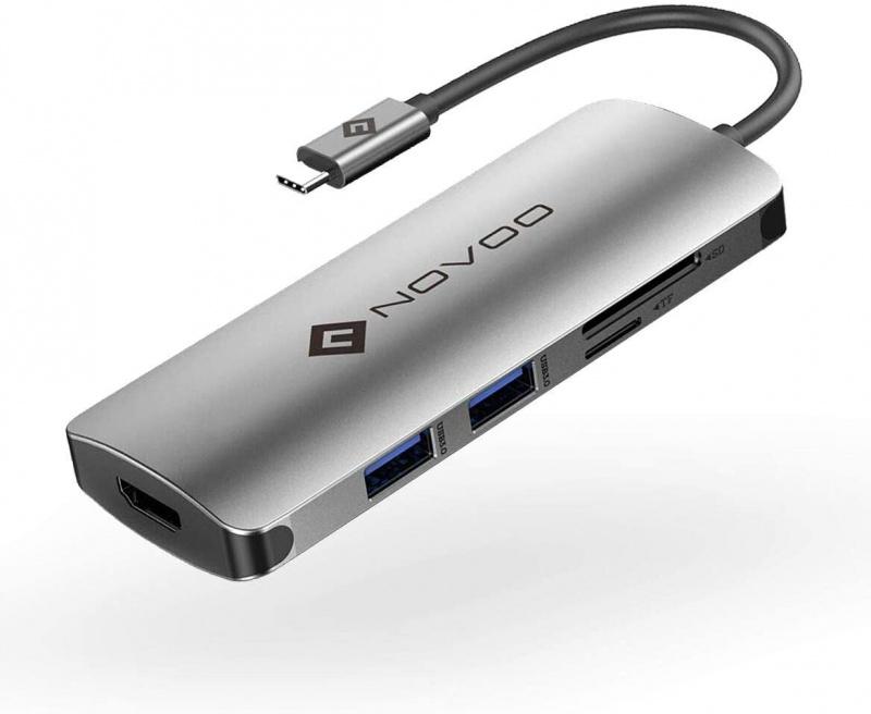 Novoo 6-in-1 USB C Type C Hub USB 3.0 *2 HDMI 4K Micro SD/TF SD 擴展器 6PLX