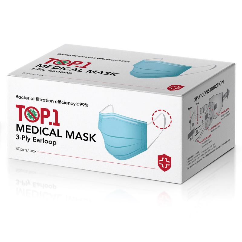 TOP.1一次性醫用口罩 (BFE≥99%,PFE94.8%,3層過濾,掛耳) - 1盒/50個,非獨立包裝