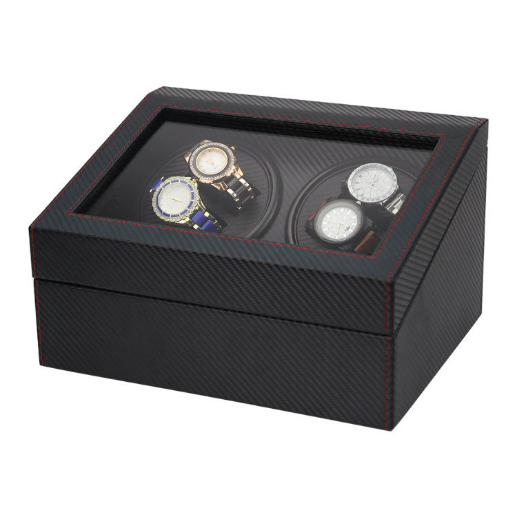 Watch Winder - 碳纖紋 雙摩打4錶位旋轉自動上鏈搖錶盒(共10手錶位) 送3個月商戶保養
