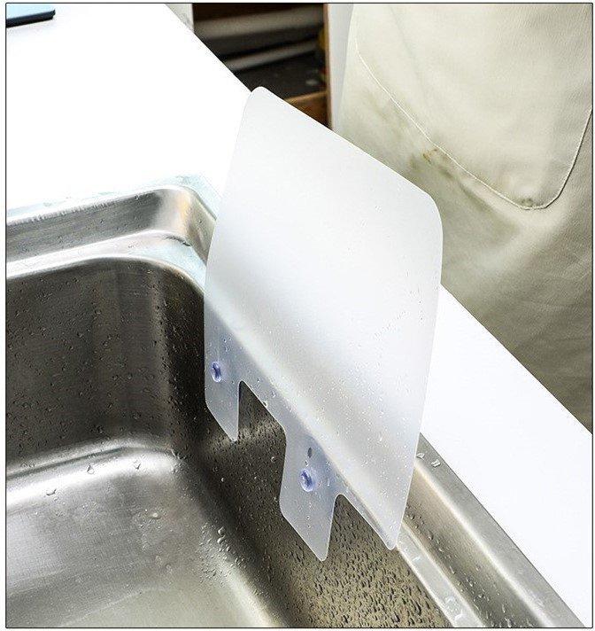 水槽防濺板 擋水板 水池洗手台 廚房衛生間可屈曲吸盤防水板