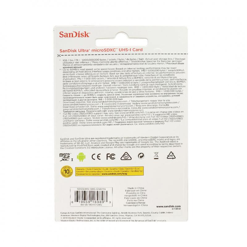SANDISK - 128GB 80MB ULTRA MICRO SDXC UHS-I CARD 記憶卡 數據卡 (SDSQUNS-128G-GN6MN)