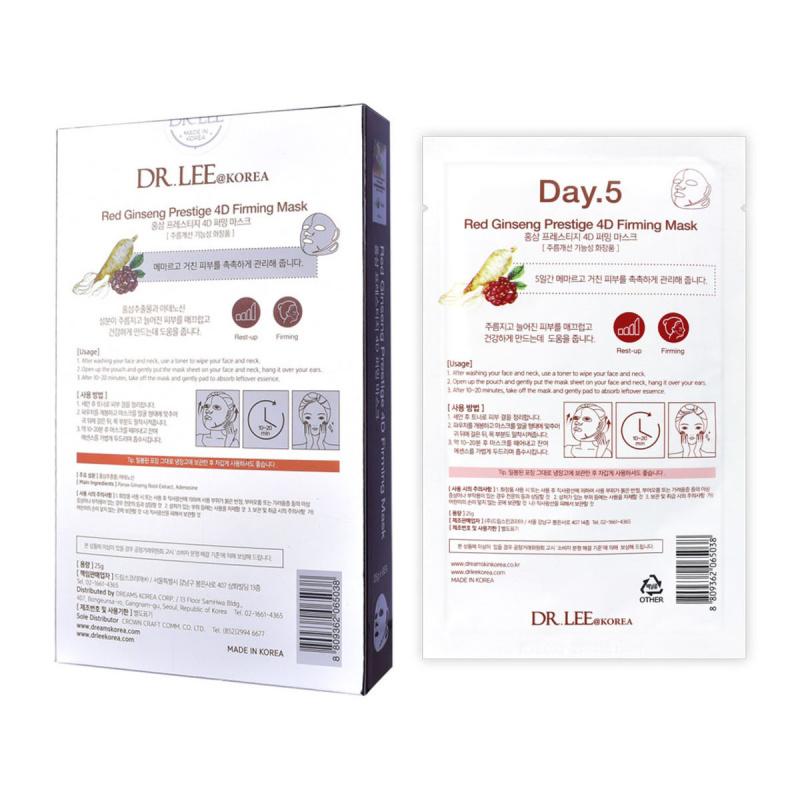 (買1送1) DR.LEE@Korea 紅蔘抗皺提升4D面膜盒裝 (25克 x 6塊)