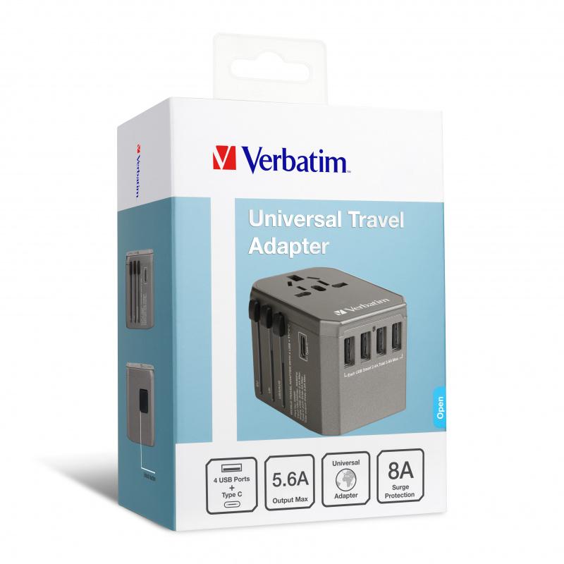 Verbatim 5 Ports 33.5W QC3.0 & PD旅行充電器