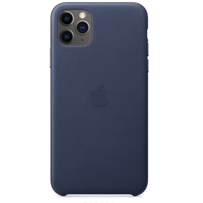 Apple 原廠 iPhone 11 pro max 皮革保護殼 - 午夜藍色