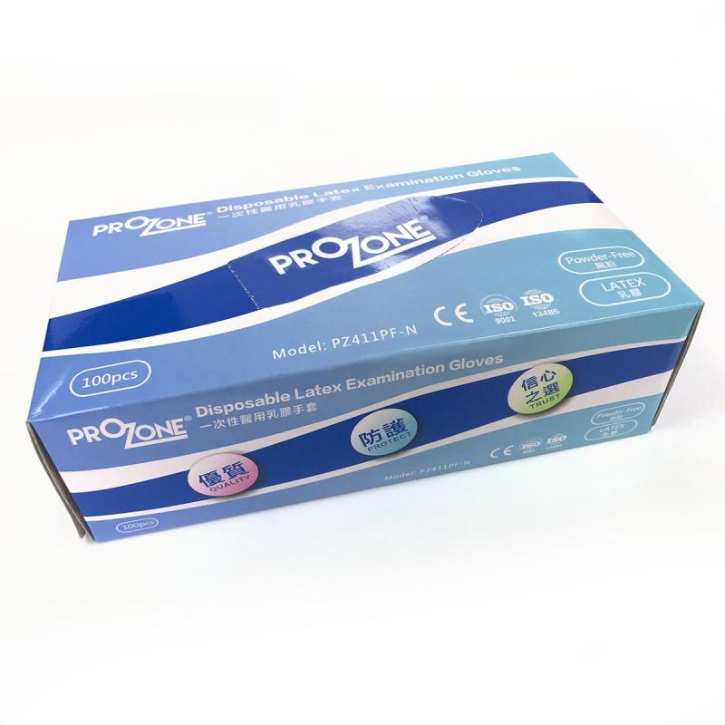 PROZONE 一次性醫用乳膠手套 (中碼) (無粉) (100個/盒)