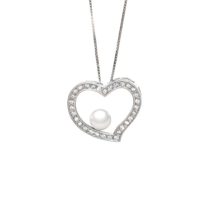One & Ownly- Girl's Heart - 淡水珍珠 配 925銀鑲白鋯石吊墜