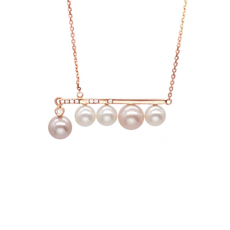 One & Ownly - Libra-18K/750 玫瑰金淡水珍珠鑽石頸鏈