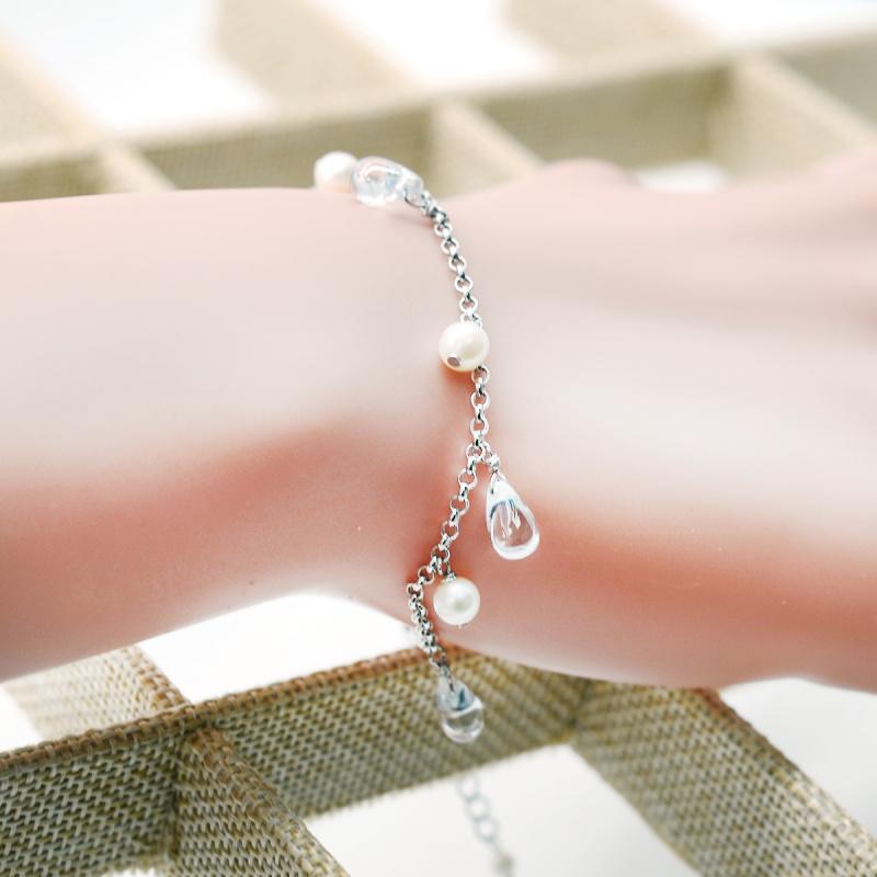 One & Ownly- rainny-淡水珍珠配水晶925銀手鏈