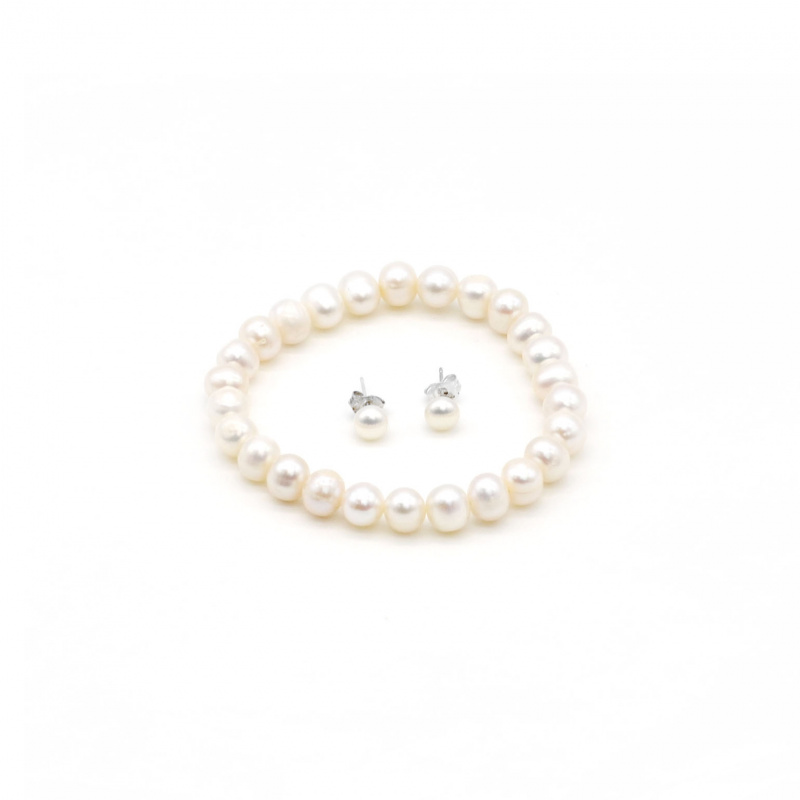 One & Ownly- 淡水珍珠 手鏈及耳環套裝