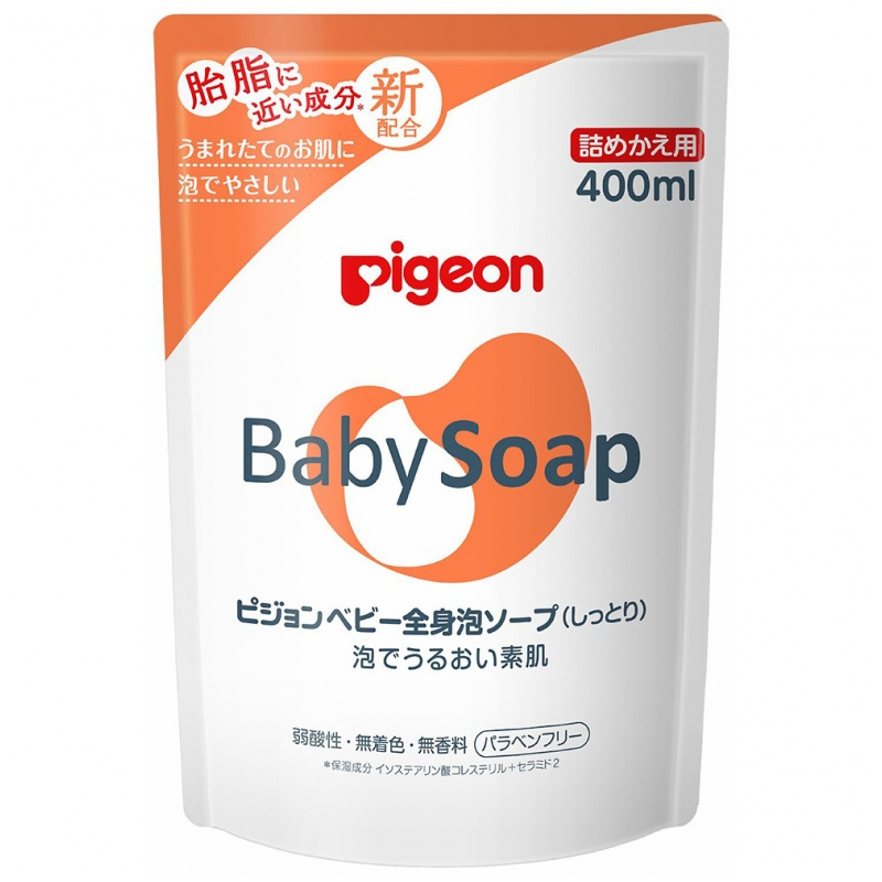 Pigeon Baby Soap 嬰兒保濕泡泡沐浴露 400ml (補充裝) (保濕無香)