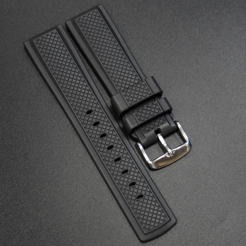 22mm 優質黑色橡膠錶帶