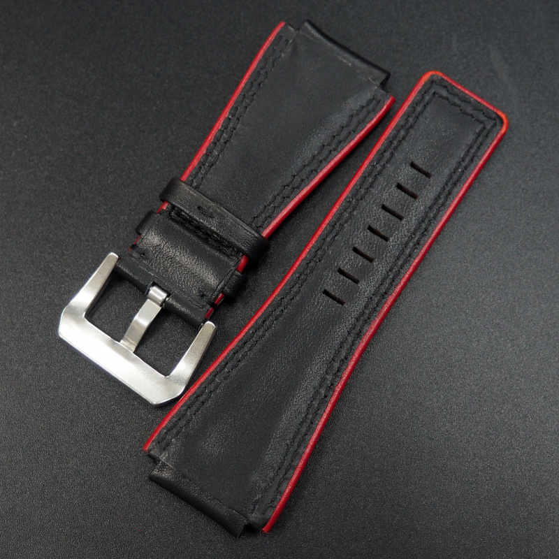 24mm 優質黑/紅色牛皮錶帶 適合Bell & Ross