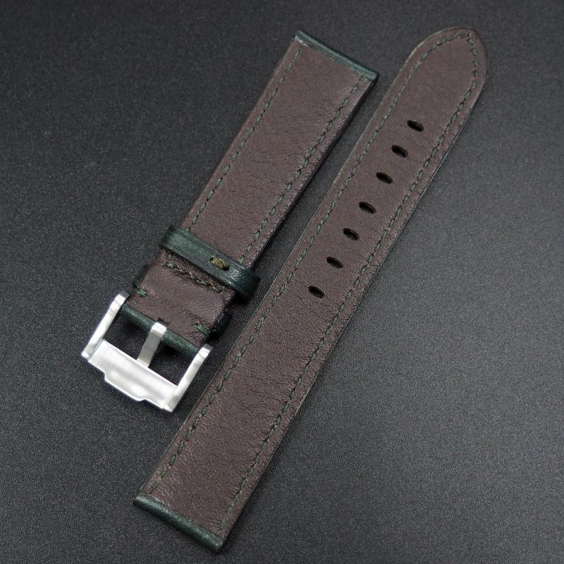 20mm 綠色牛皮錶帶