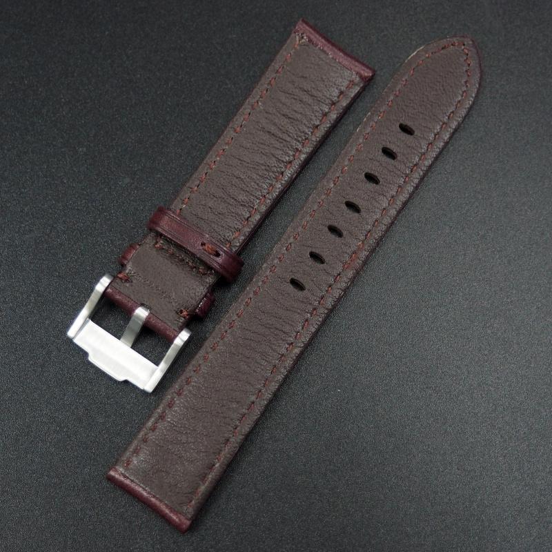 20mm 紅酒色牛皮錶帶