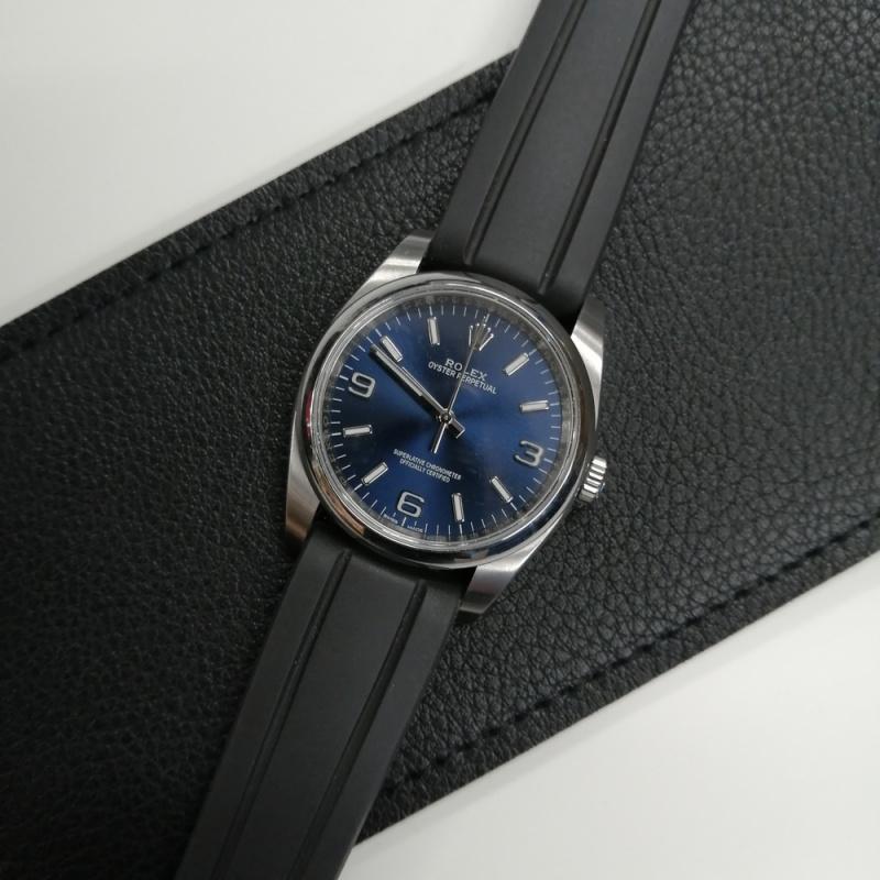 20mm 優質黑色橡膠錶帶