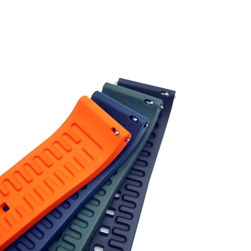 20mm, 22mm 優質蕨綠色直紋橡膠錶帶配針扣