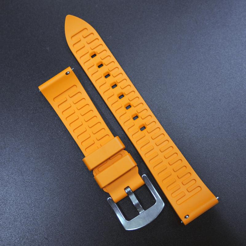 20/22mm 優質橙色直紋橡膠錶帶配針扣