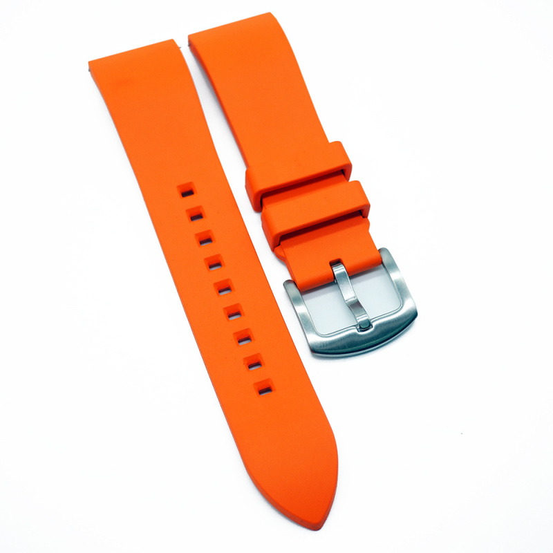 20mm, 22mm 優質橙色直紋橡膠錶帶配針扣