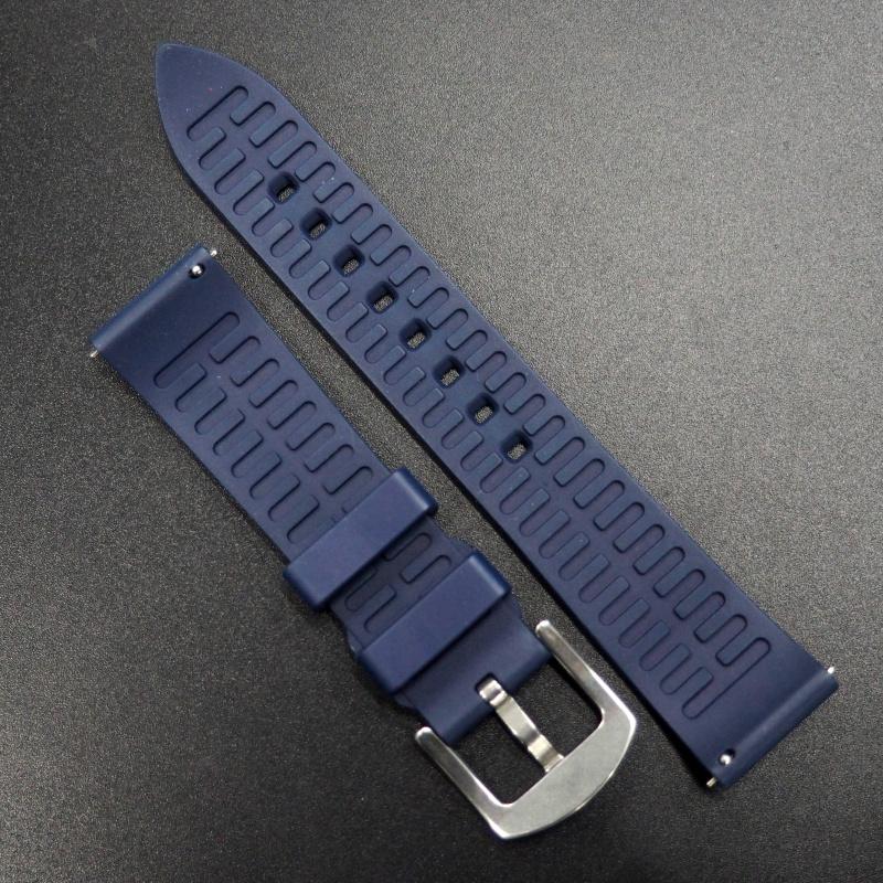 20/22mm 優質海軍藍直紋橡膠錶帶配針扣
