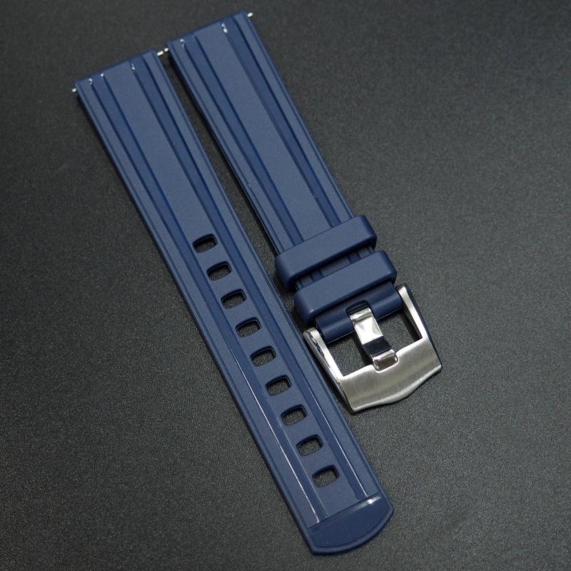 20mm, 22mm 藍色直紋橡膠錶帶配針扣 適合Omega