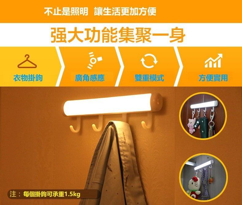 USB 充電式掛鉤智能人體感應燈光管 (白色/黃色燈)