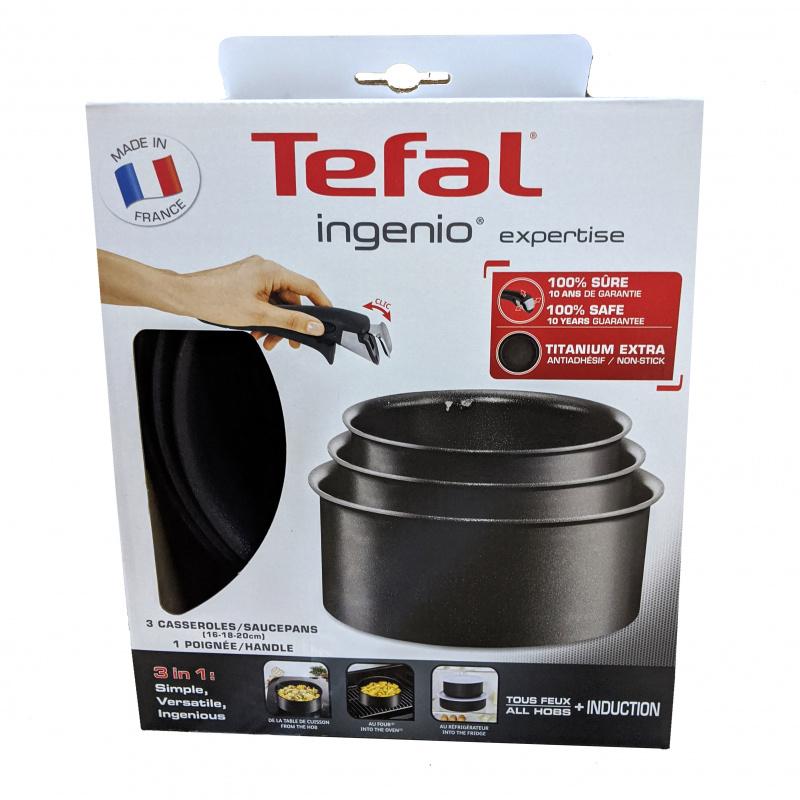 法國特福 Tefal - 靈巧疊疊鑊 4件套 Ingenio Expertise 電磁爐適用 16/18/20 CM 單柄煲 (連可拆手柄) L6509503 法國製造 Induction Compatible Cooking Pots Sauce Pan