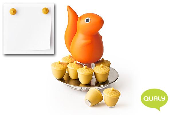 趣緻小松鼠/松果磁石貼 (橙)