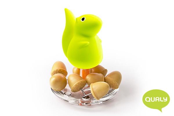 趣緻小松鼠大頭針座 (綠)