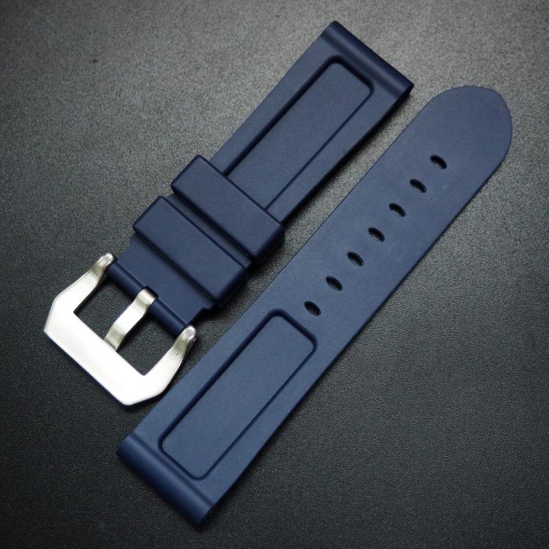 20/22/24mm 海軍藍色矽膠錶帶 合適 Panerai 等手錶
