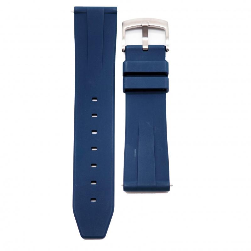 20mm, 22mm 海軍藍色氟碳橡膠錶帶
