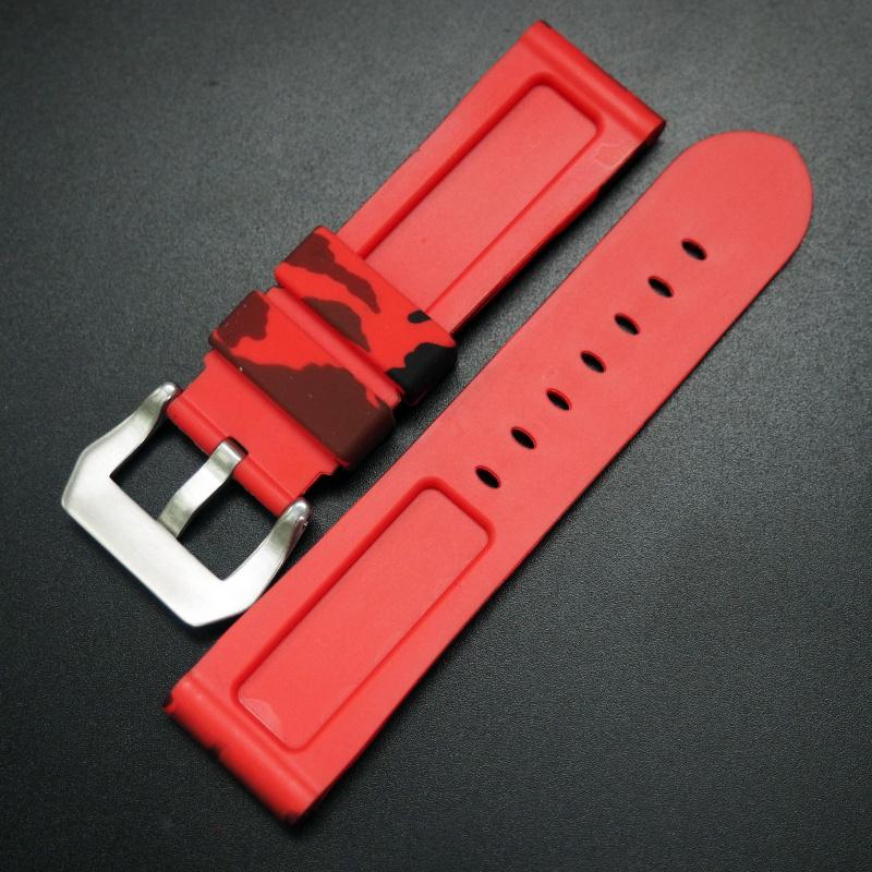 22/24mm 紅色迷彩矽膠錶帶 合適 Panerai 等手錶