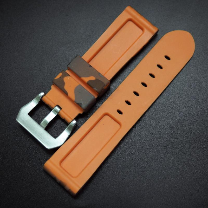 22mm, 24mm 橙色迷彩矽膠錶帶 合適 Panerai 等手錶