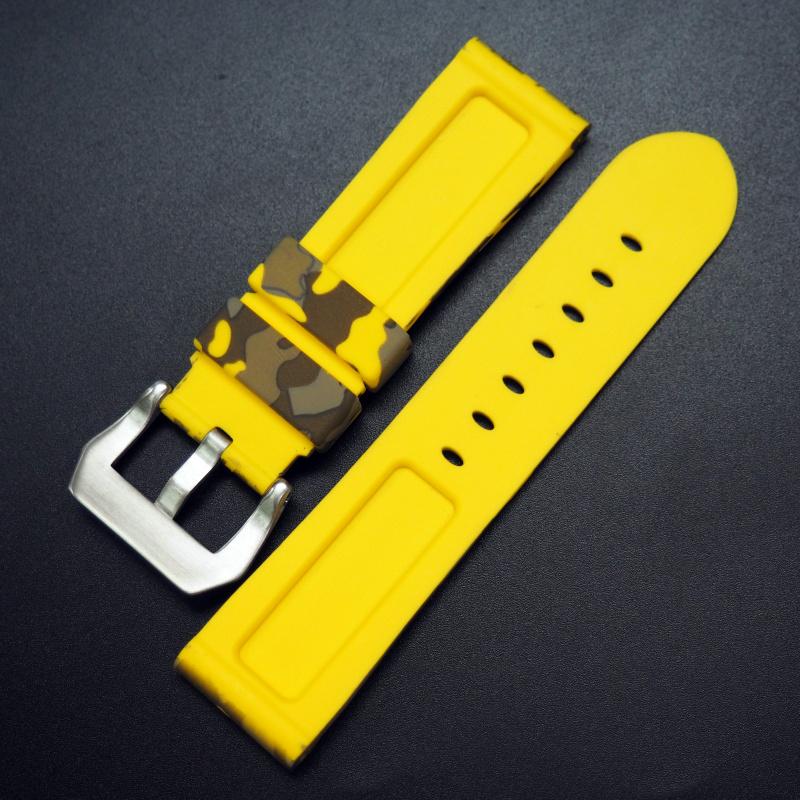 22mm, 24mm 黃色迷彩矽膠錶帶 合適 Panerai 等手錶