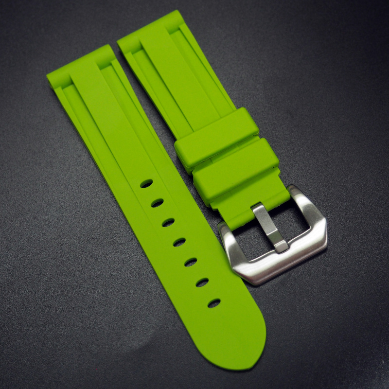 22/24mm 黃綠色矽膠錶帶 合適 Panerai 等手錶