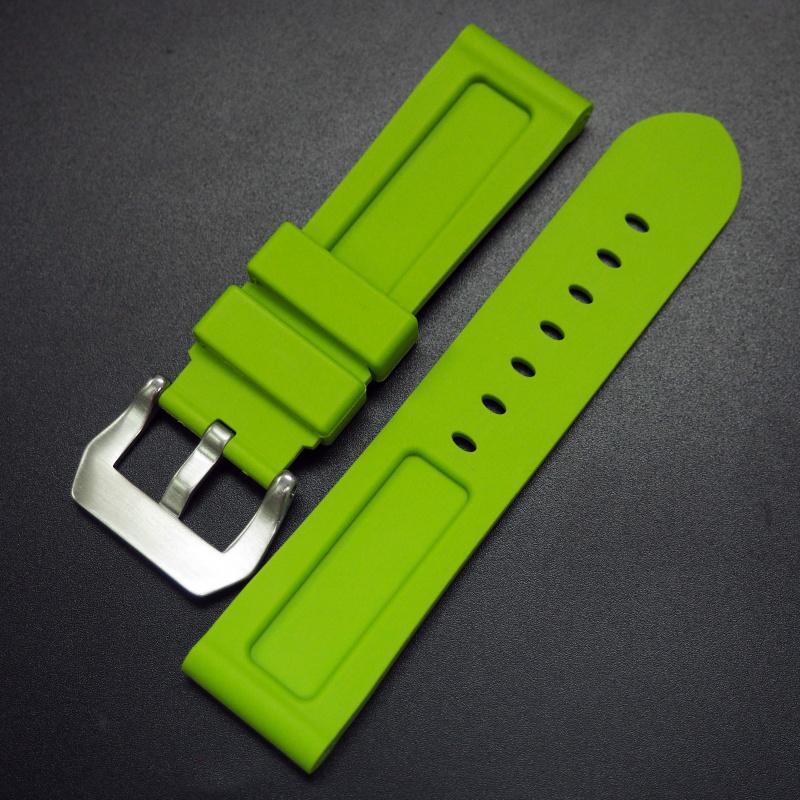 22mm, 24mm 黃綠色矽膠錶帶 合適 Panerai 等手錶