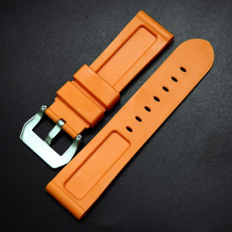 22/24mm 橙色矽膠錶帶 合適 Panerai 等手錶