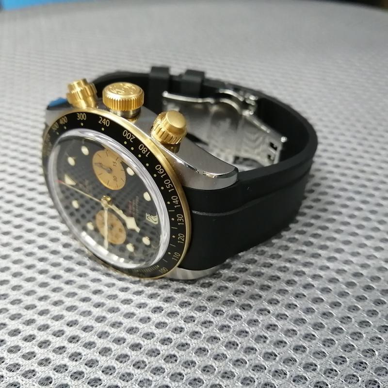 22mm Curved End 黑色膠錶帶 適合Tudor Heritage 41mm Black Bay