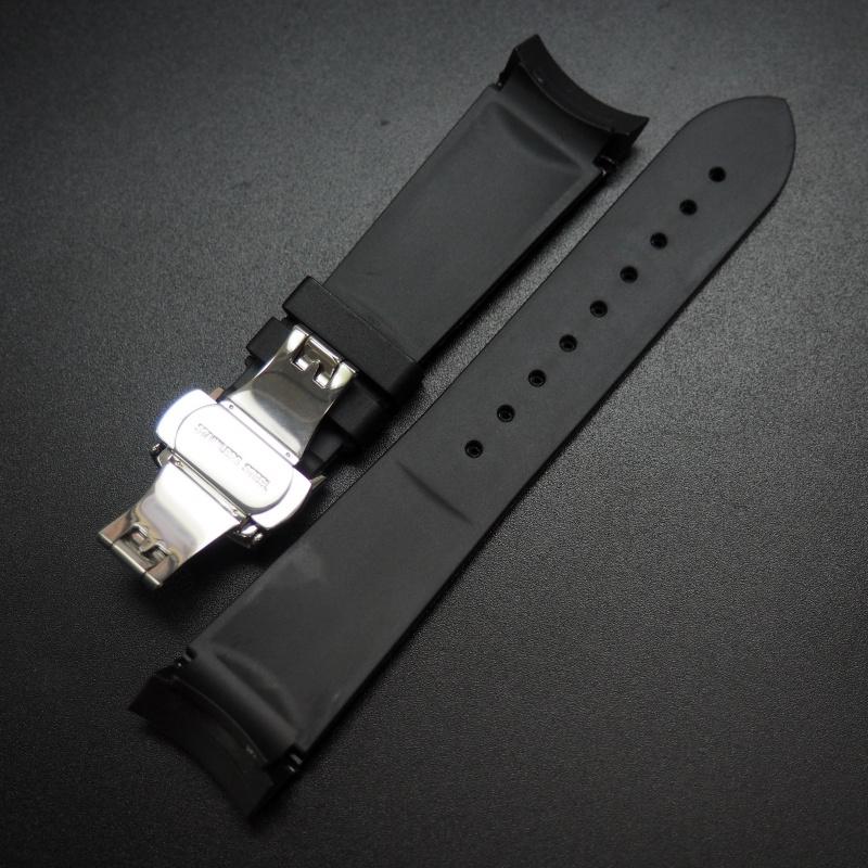 22mm 黑色矽膠錶帶 適合Tudor Heritage
