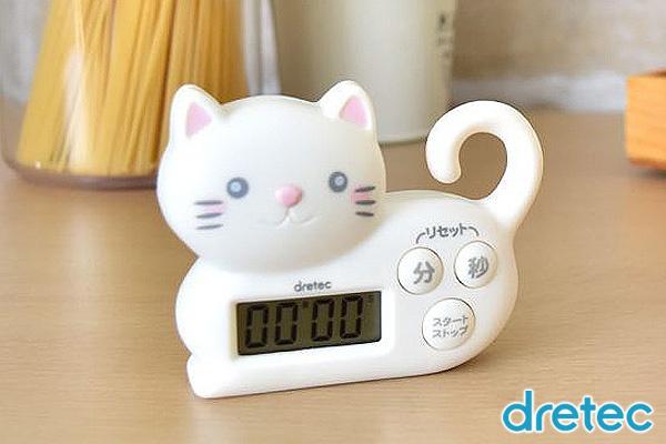 日本Dretec可愛貓咪廚房計時器 (白)