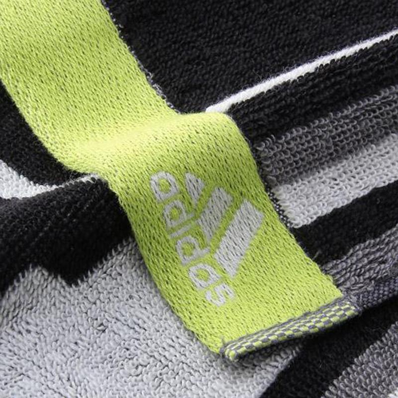 日版 Adidas【黑間螢光邊】純棉運動毛巾(965) 20x90cm【市集世界 - 日本市集】