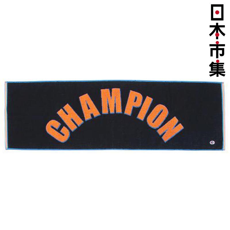 日版 Champion【黑色 大字】純棉運動毛巾(973) 34x110cm【市集世界 - 日本市集】