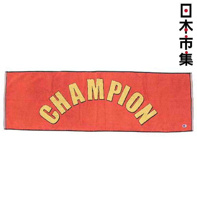 日版 Champion【紅色 大字】純棉運動毛巾(966) 34x110cm【市集世界 - 日本市集】