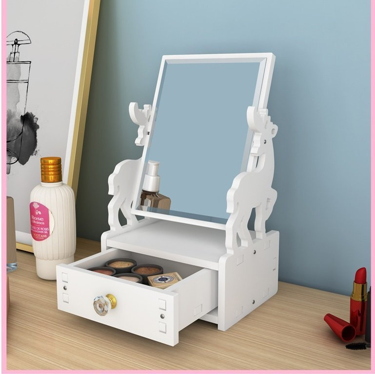 自組小型檯頭化妝鏡櫃