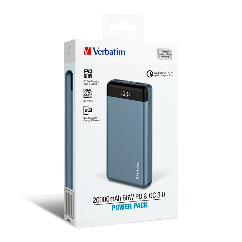 Verbatim 20000mAh 66W PD & QC 3.0 流動充電池