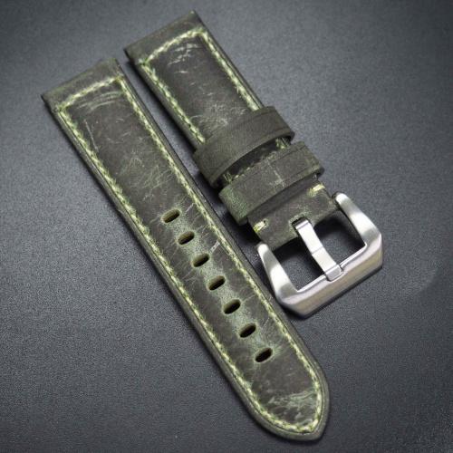 24mm 懷舊綠色牛皮錶帶 適合Panerai