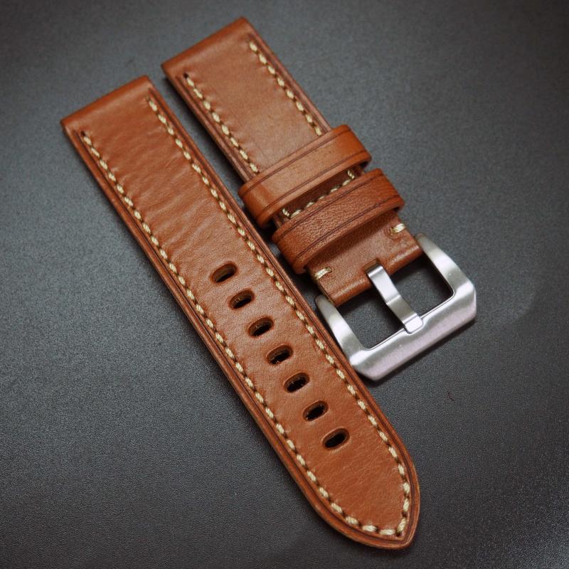 24mm 青銅橙色牛皮錶帶 適合Panerai