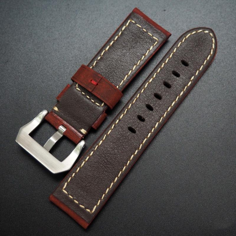 24mm 紅色牛皮錶帶 適合Panerai