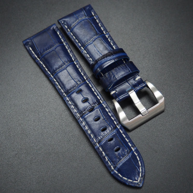 24/26mm 藍色鱷魚紋牛皮錶帶 適合Panerai