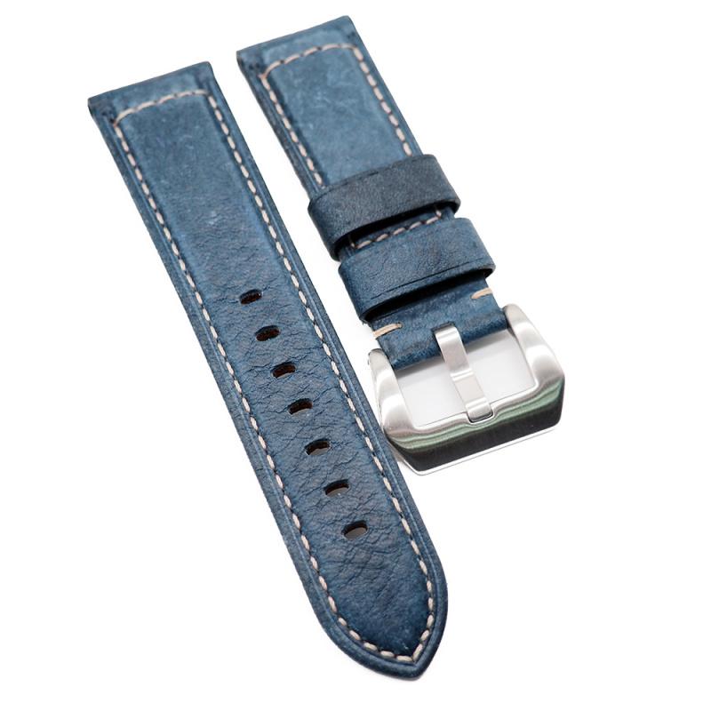 24mm 深藍色牛皮錶帶 適合Panerai